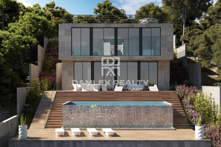 New modern design villa with sea views 30 km from Barcelona